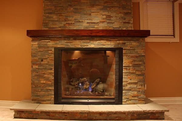 photo of a custom built fireplace